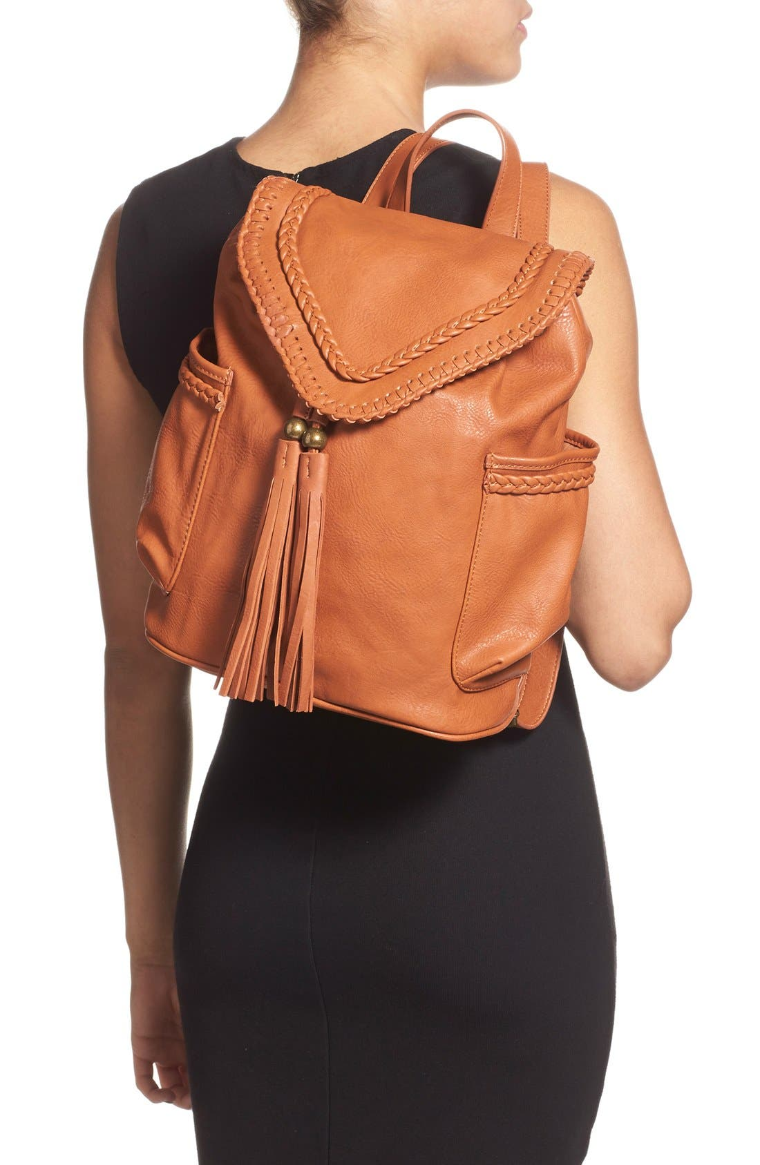 Alternate Image 2  - Dolce Girl Braided Faux Leather Backpack