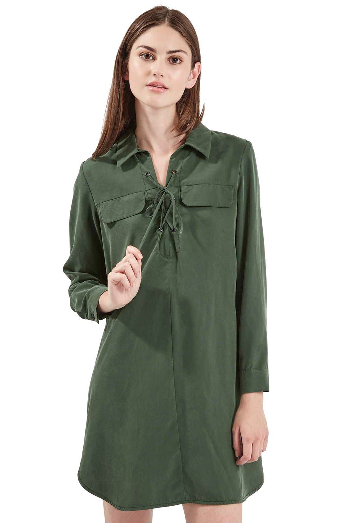 Alternate Image 1 Selected - Topshop Lace-Up Oversize Shirtdress