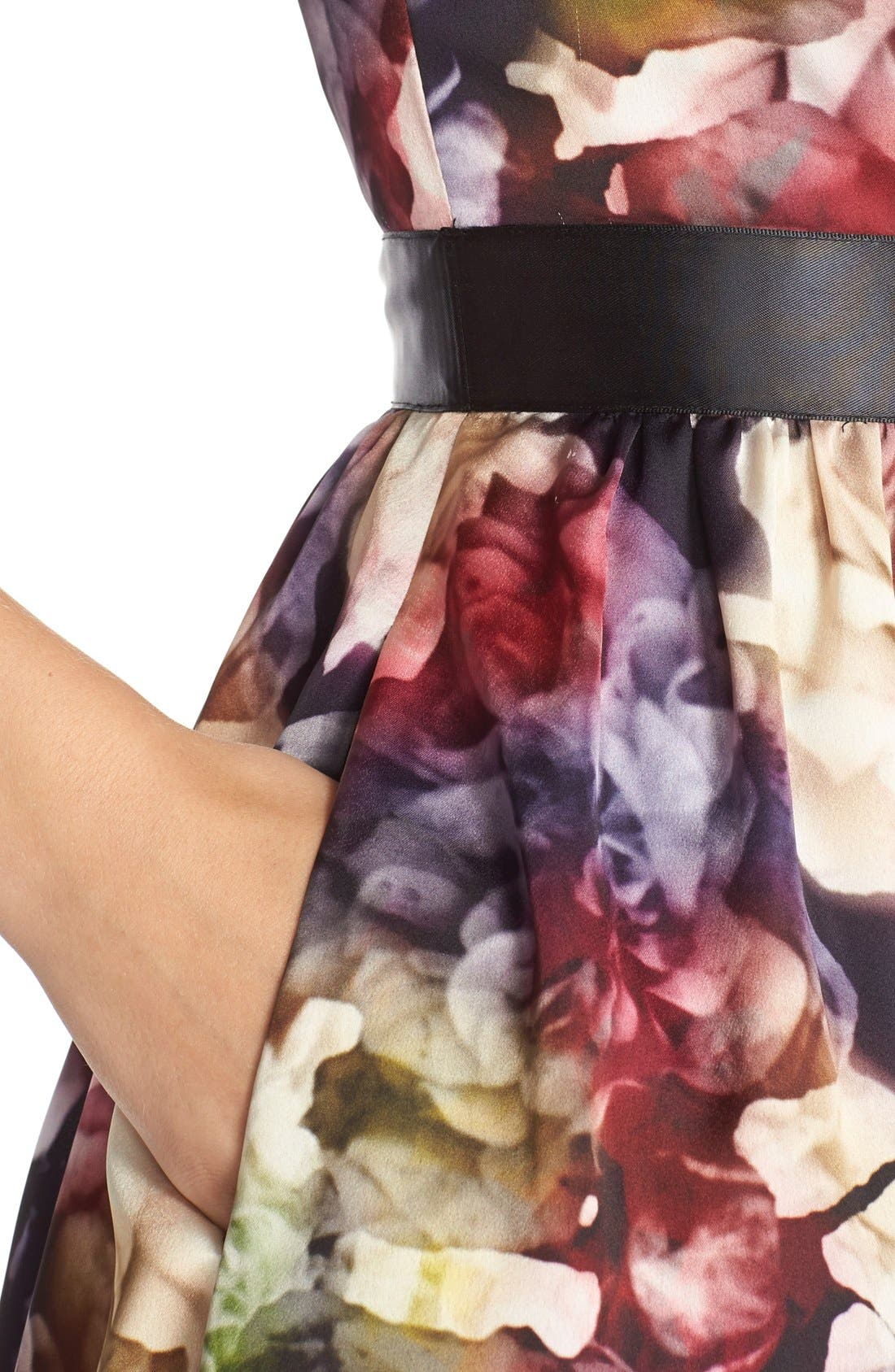 Alternate Image 5  - Adrianna Papell Floral Charmeuse Fit & Flare Dress