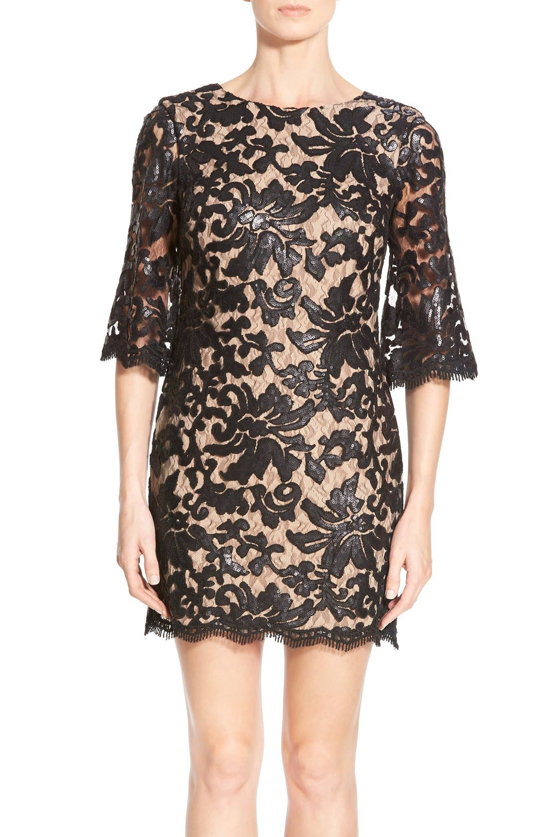 DRESS THE POPULATION Melody Sequin Lace Dress