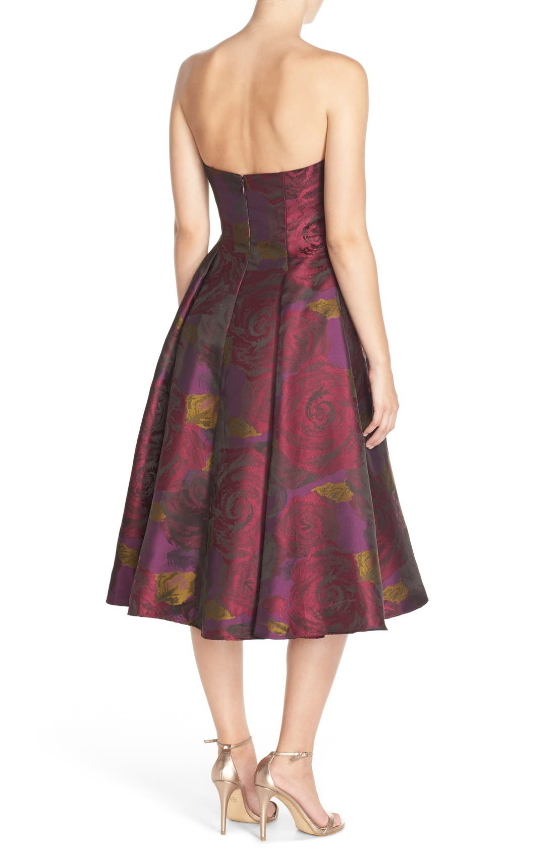 Alternate Image 2  - Adrianna Papell Jacquard Tea Length Fit & Flare Dress