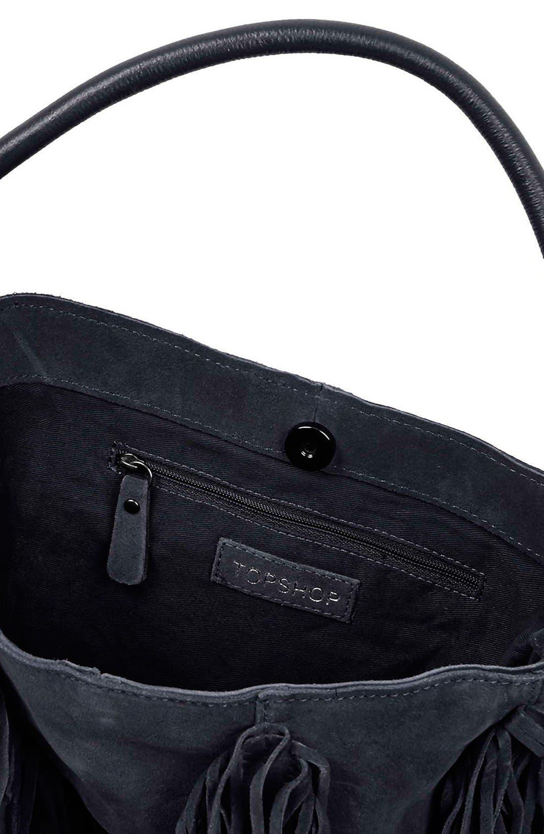Alternate Image 4  - Topshop Fringe Suede Hobo Bag