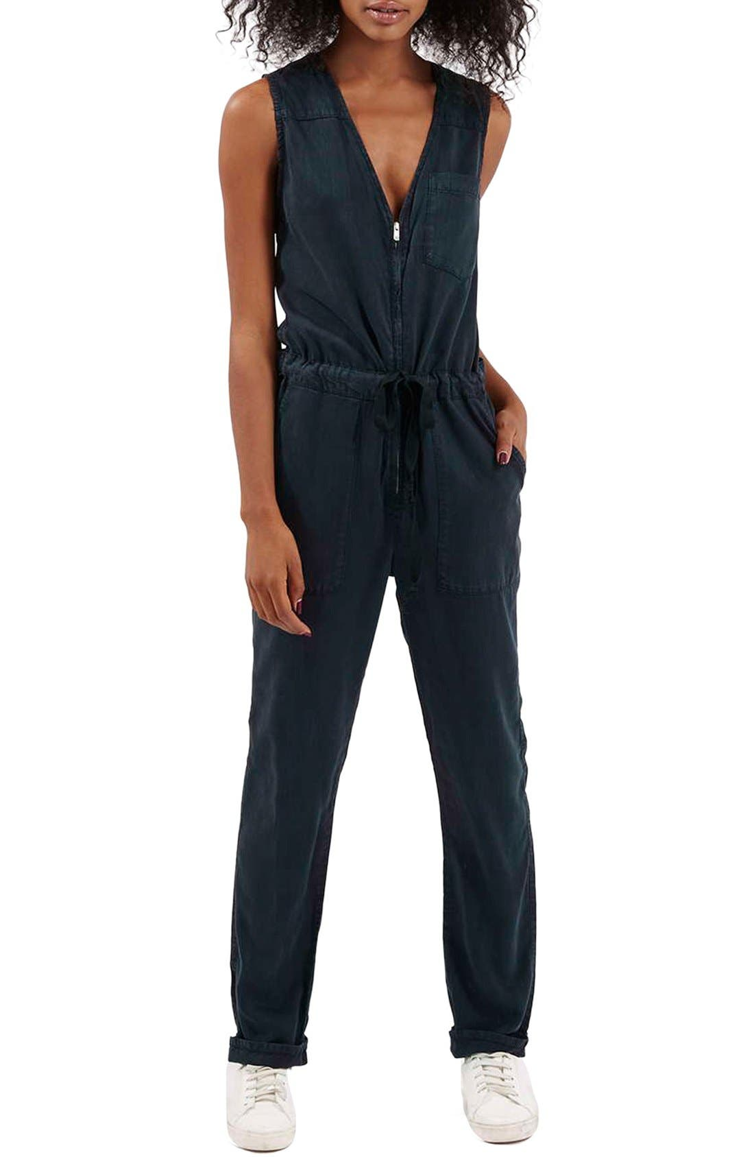 Main Image - Topshop Sleeveless Zip Front Jumpsuit