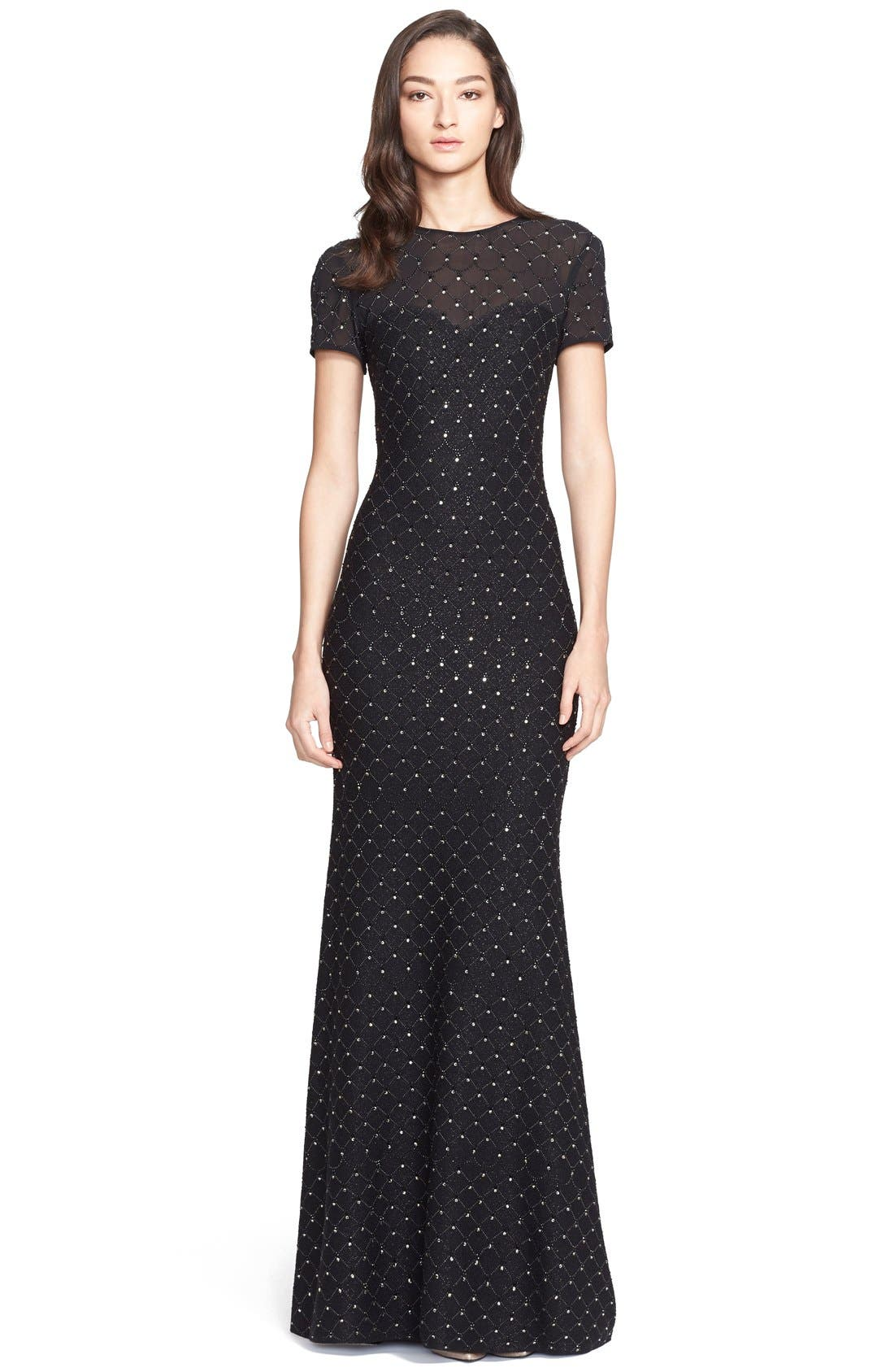 Main Image - St. John Collection Embellished Shimmer Knit Gown