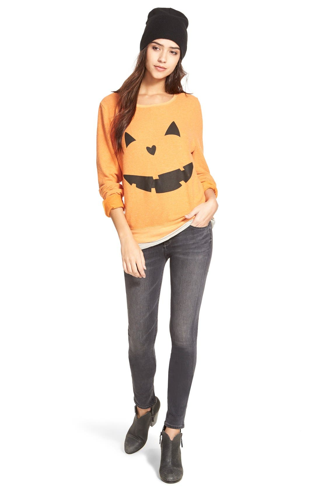 Alternate Image 2  - Wildfox'Baggy Beach Jumper -Pumpkin Love' Pullover