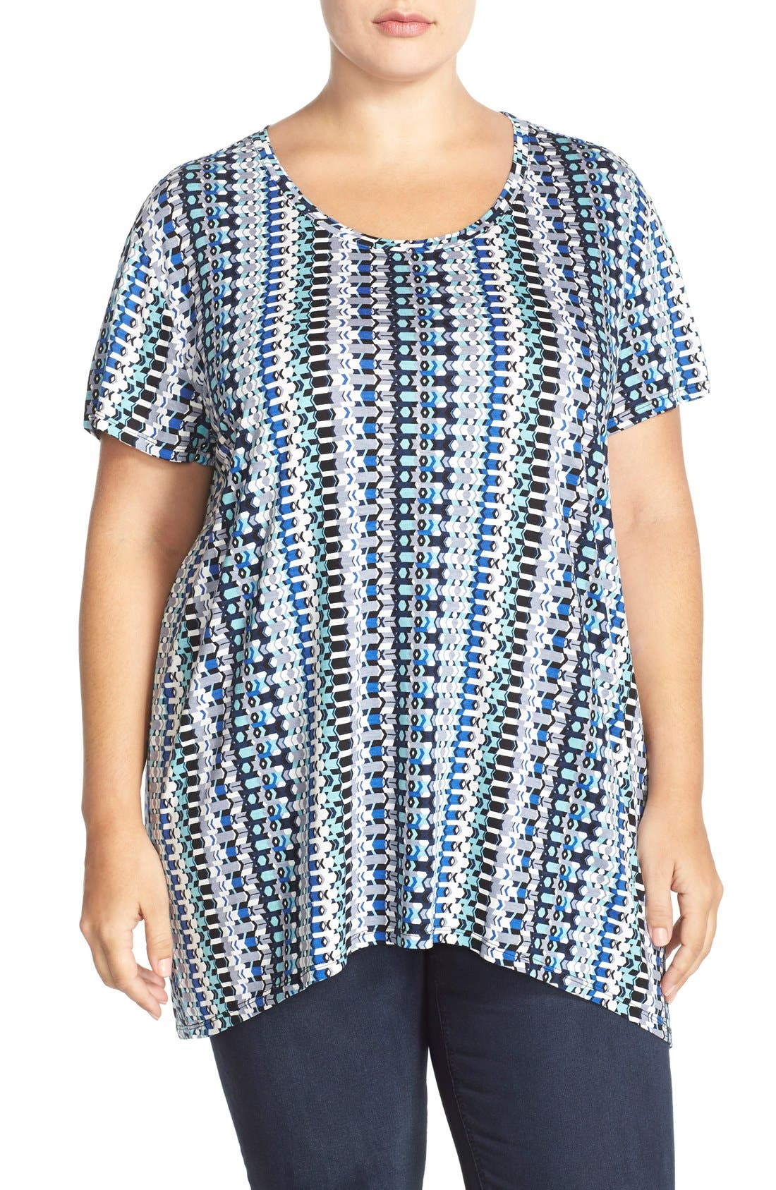 Alternate Image 1 Selected - Sejour Print High/Low Tee (Plus Size)