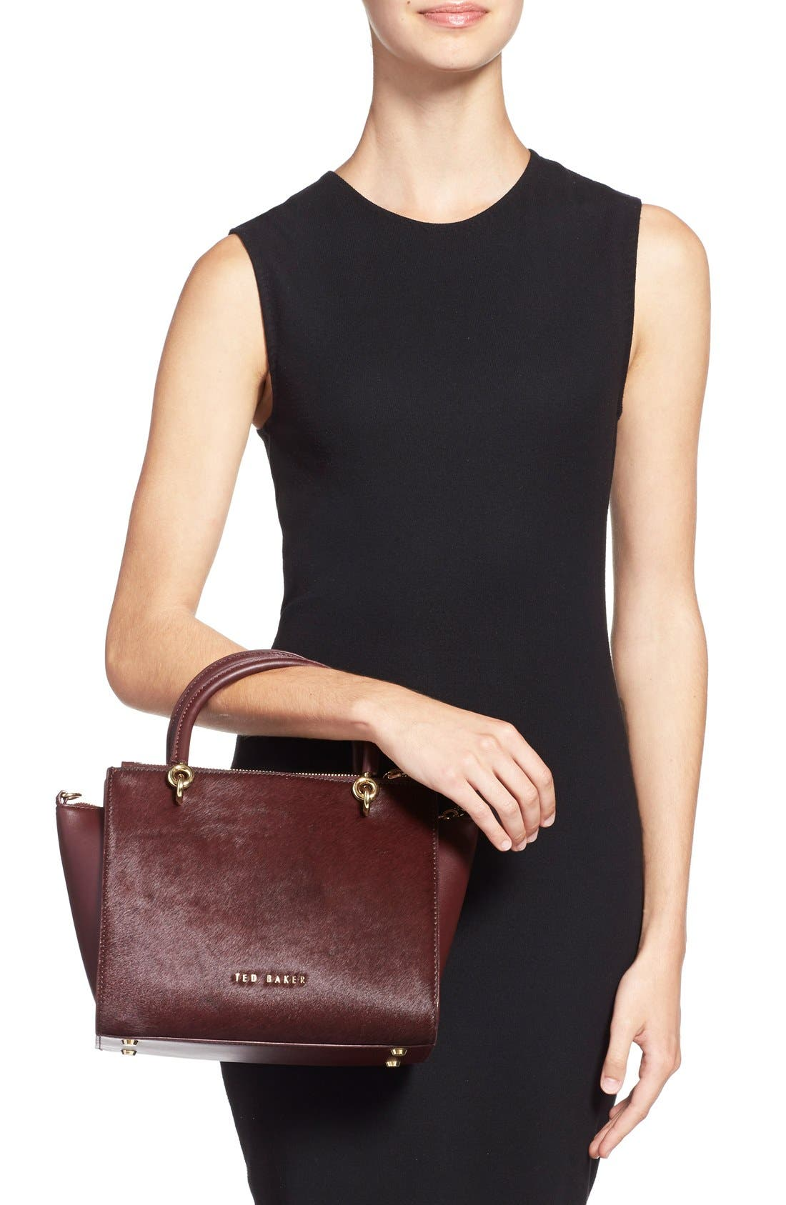 Alternate Image 2  - Ted Baker London 'Haylie' Leather & Genuine Calf Hair Crossbody Tote Bag