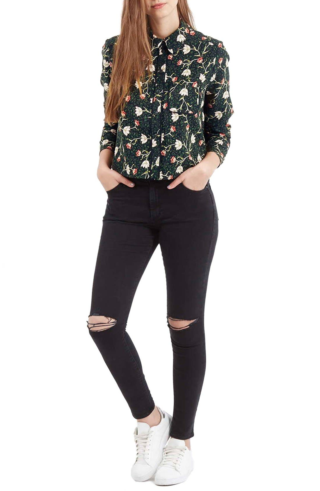 Alternate Image 2  - Topshop Floral Print Boxy Shirt