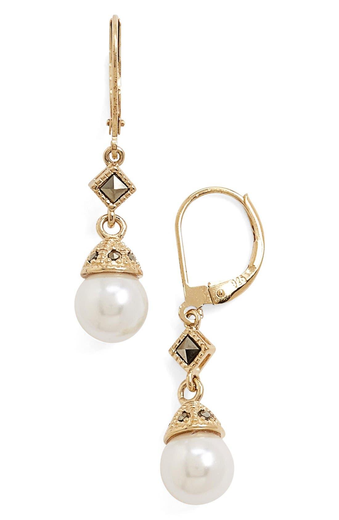 Judith Jack Imitation Pearl Drop Earrings