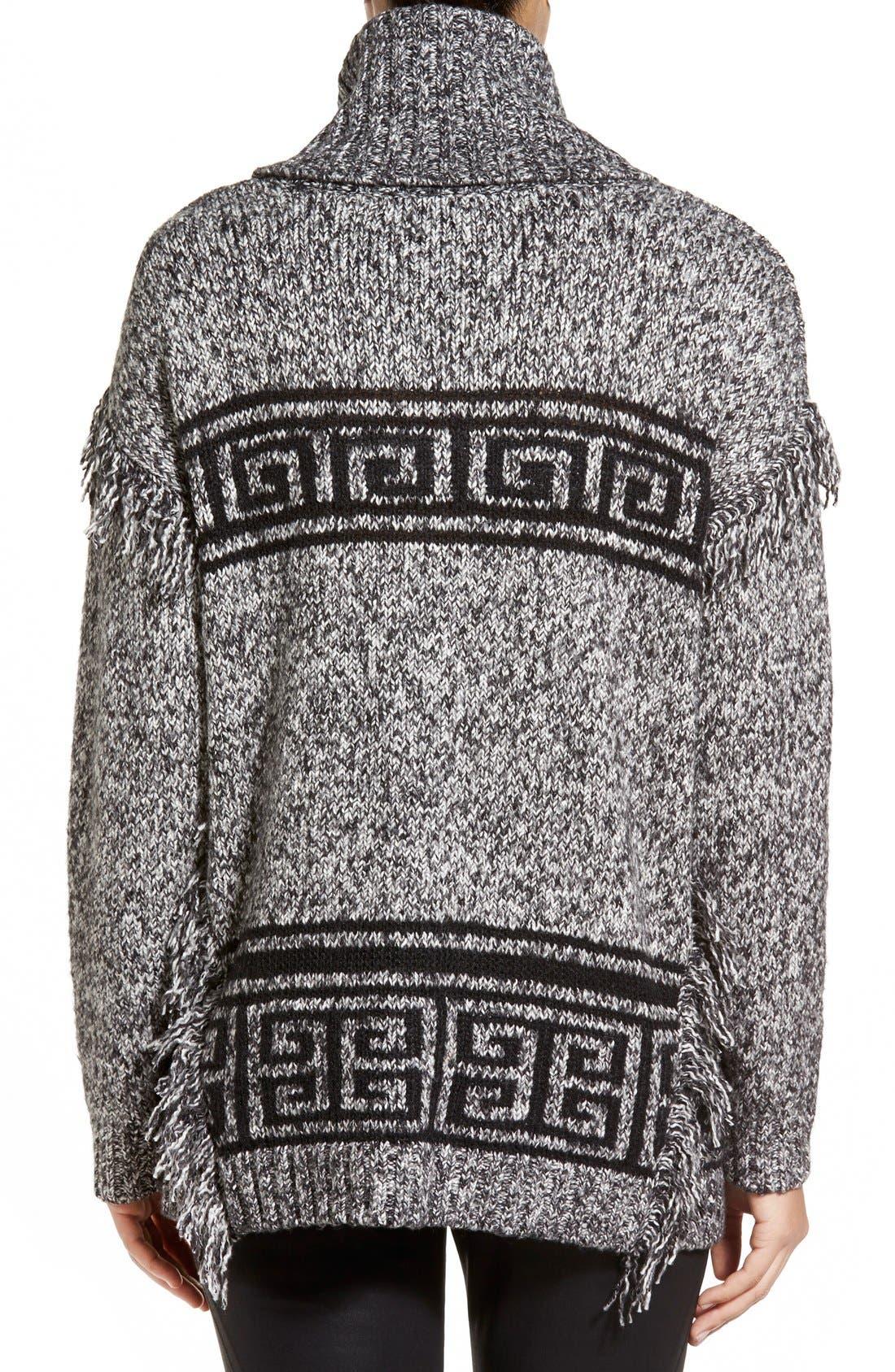 Alternate Image 2  - kensie Fringe Trim Turtleneck Sweater