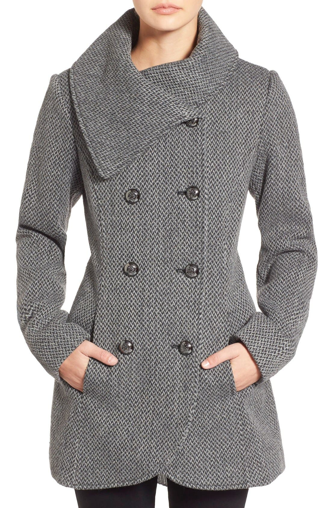 Main Image - Jessica Simpson Double Breasted Basket Weave Coat (Online Only)