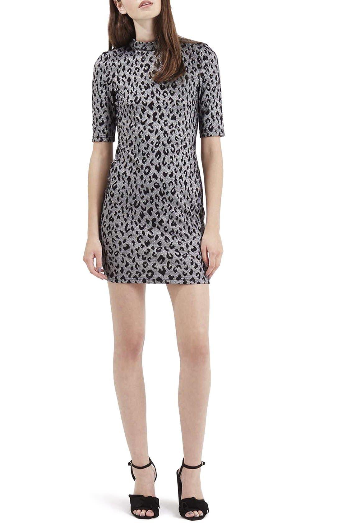 Alternate Image 2  - Topshop Jacquard Leopard Body-Con Dress (Regular & Petite)