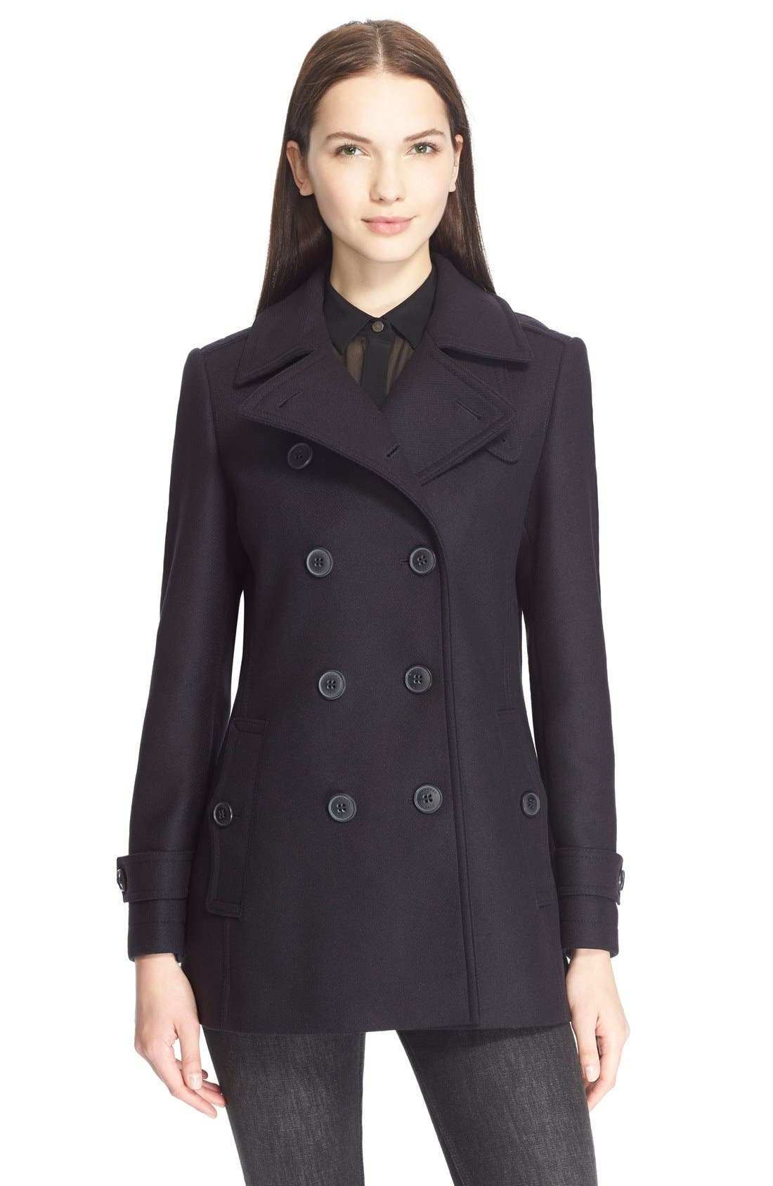 Main Image - Burberry Brit 'Needlethorpe' Pleated Back Peacoat