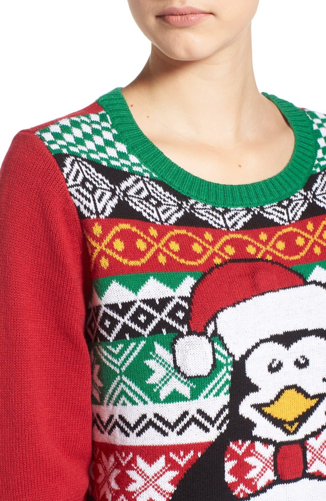 Alternate Image 4  - Ugly Christmas Sweater 'Penguin' Light-Up Fair Isle Knit Sweater
