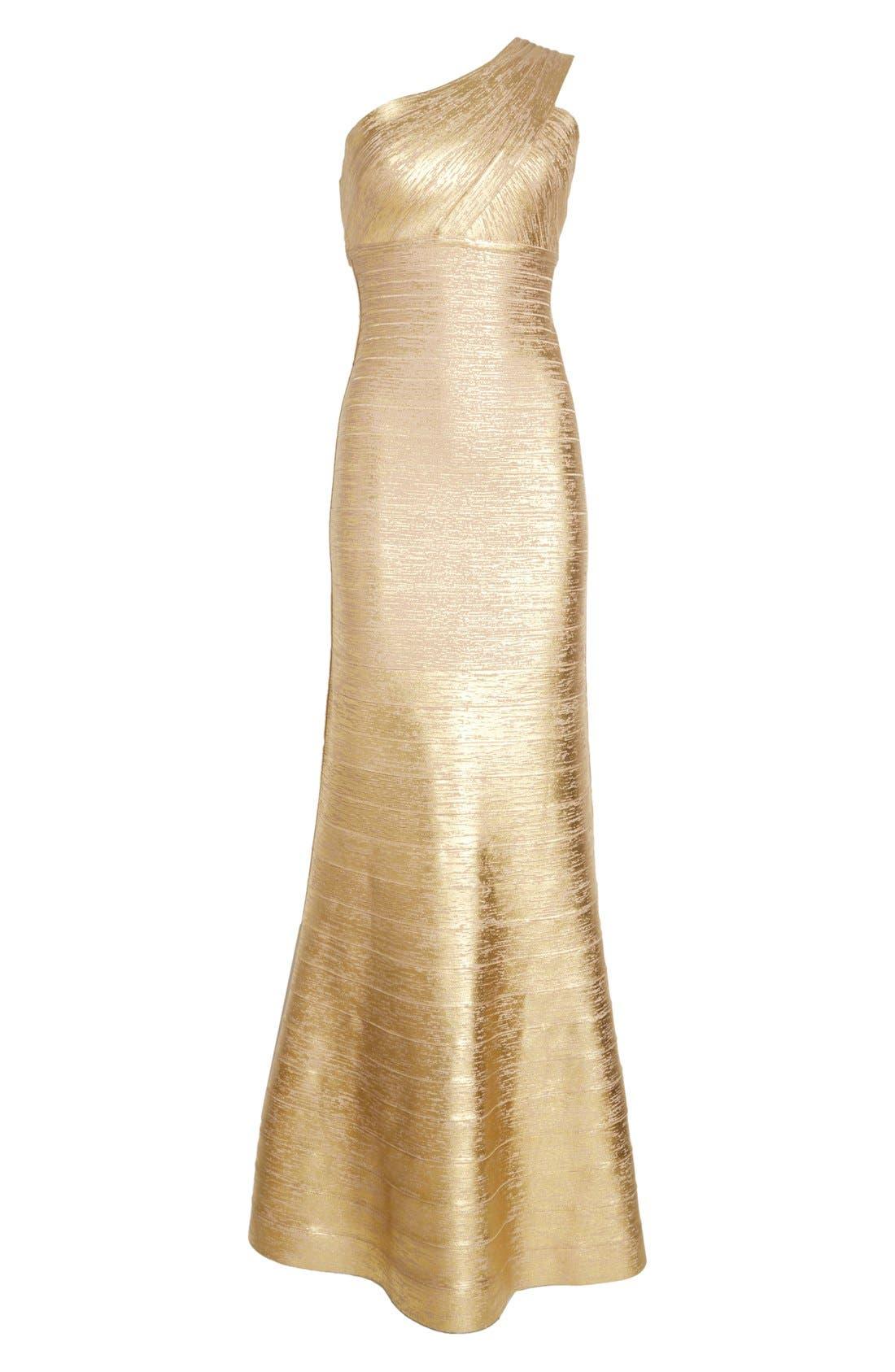 Alternate Image 4  - Herve Leger 'Lilyanna' One-Shoulder Woodgrain Metallic Gown