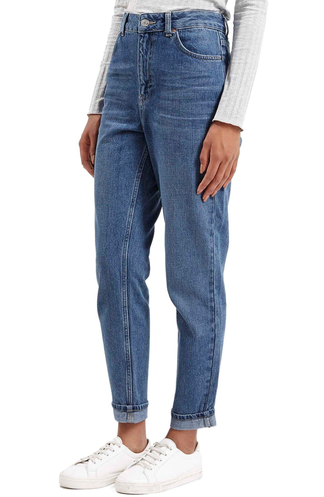 Main Image - Topshop Moto High Rise Crop Jeans (Dark Denim)