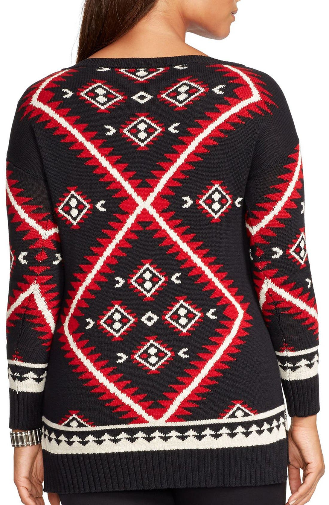 Alternate Image 2  - Lauren Ralph Lauren Geometric Pattern Sweater (Plus Size)
