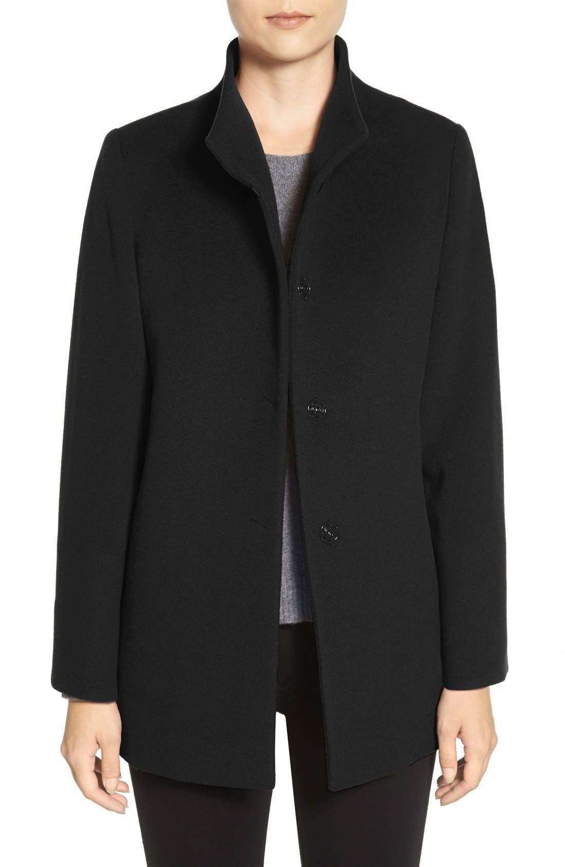 Main Image - Cinzia Rocca DUE Stand Collar Wool Blend Coat (Petite)
