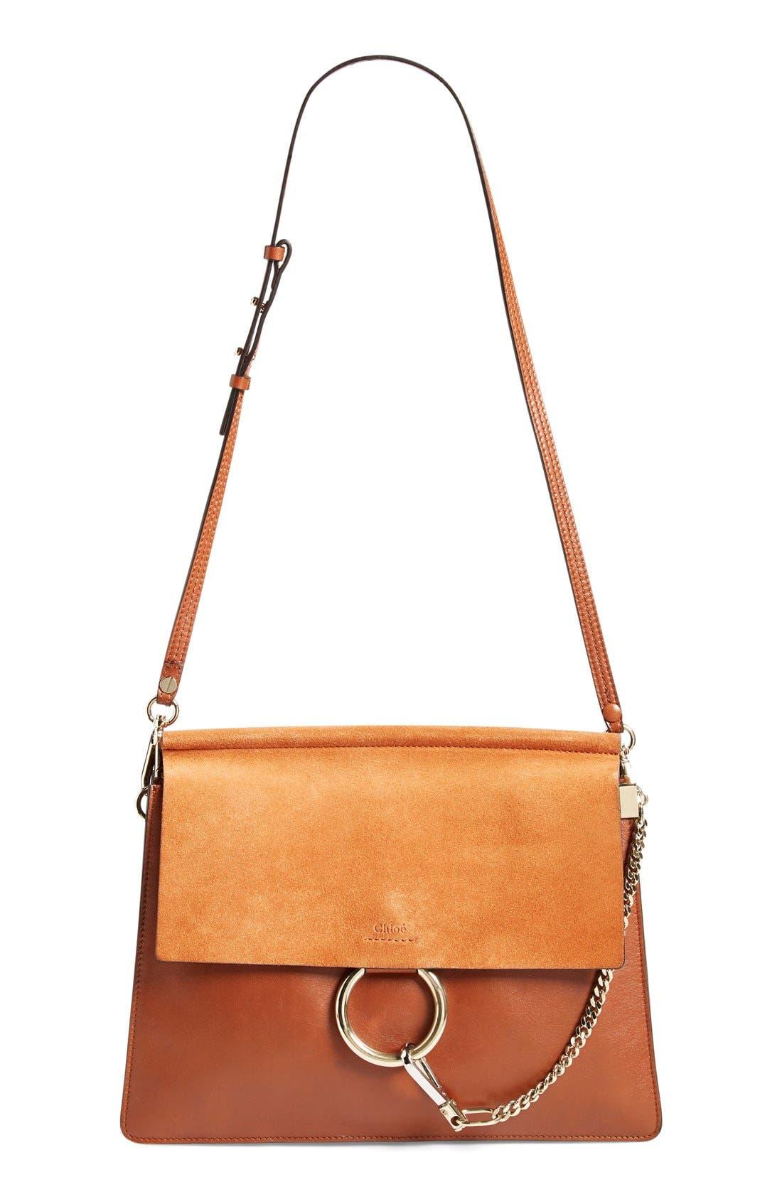 Main Image - Chloé 'Faye' Leather & Suede Shoulder Bag