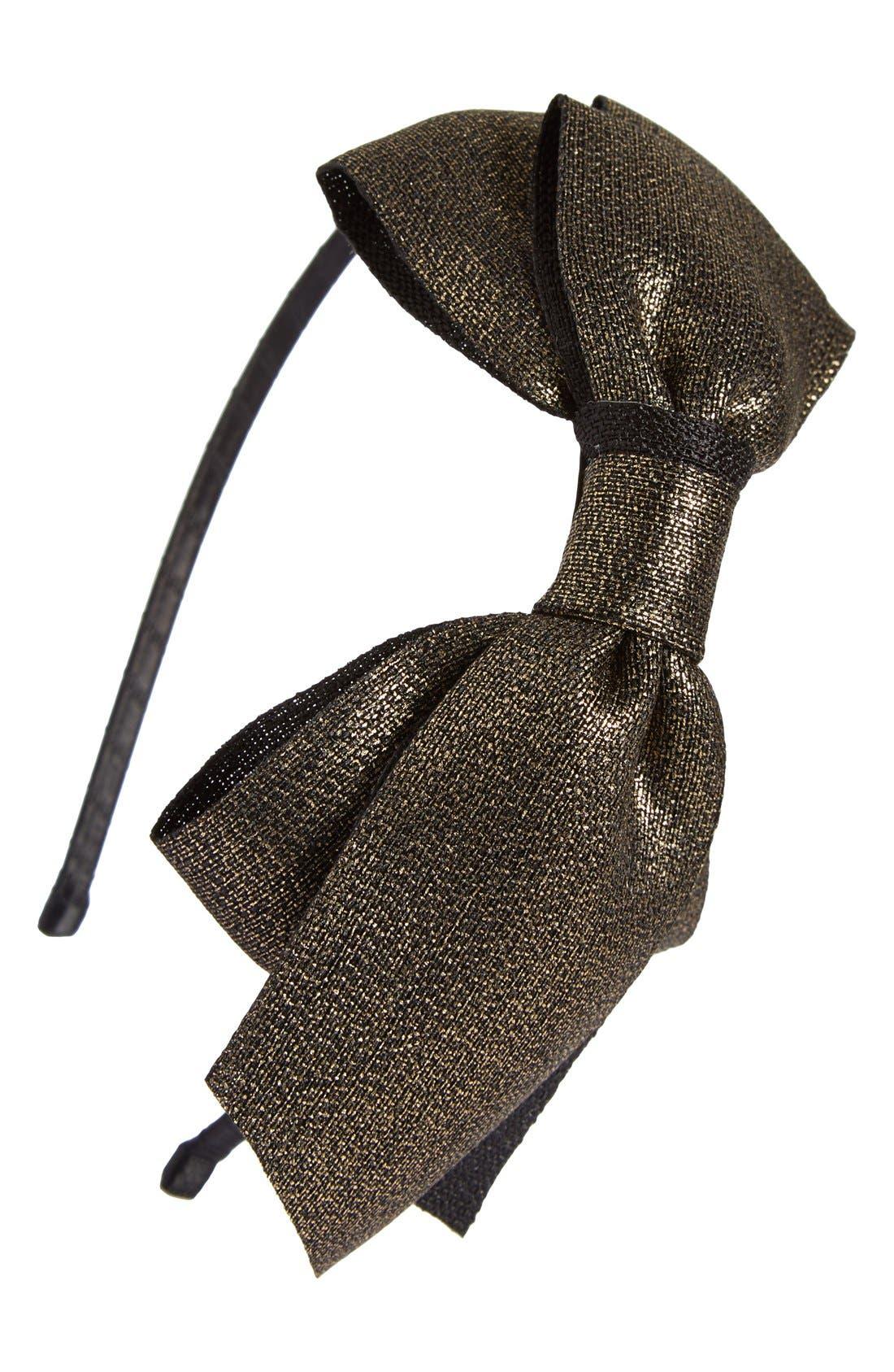 Main Image - Cara Metallic Bow Headband