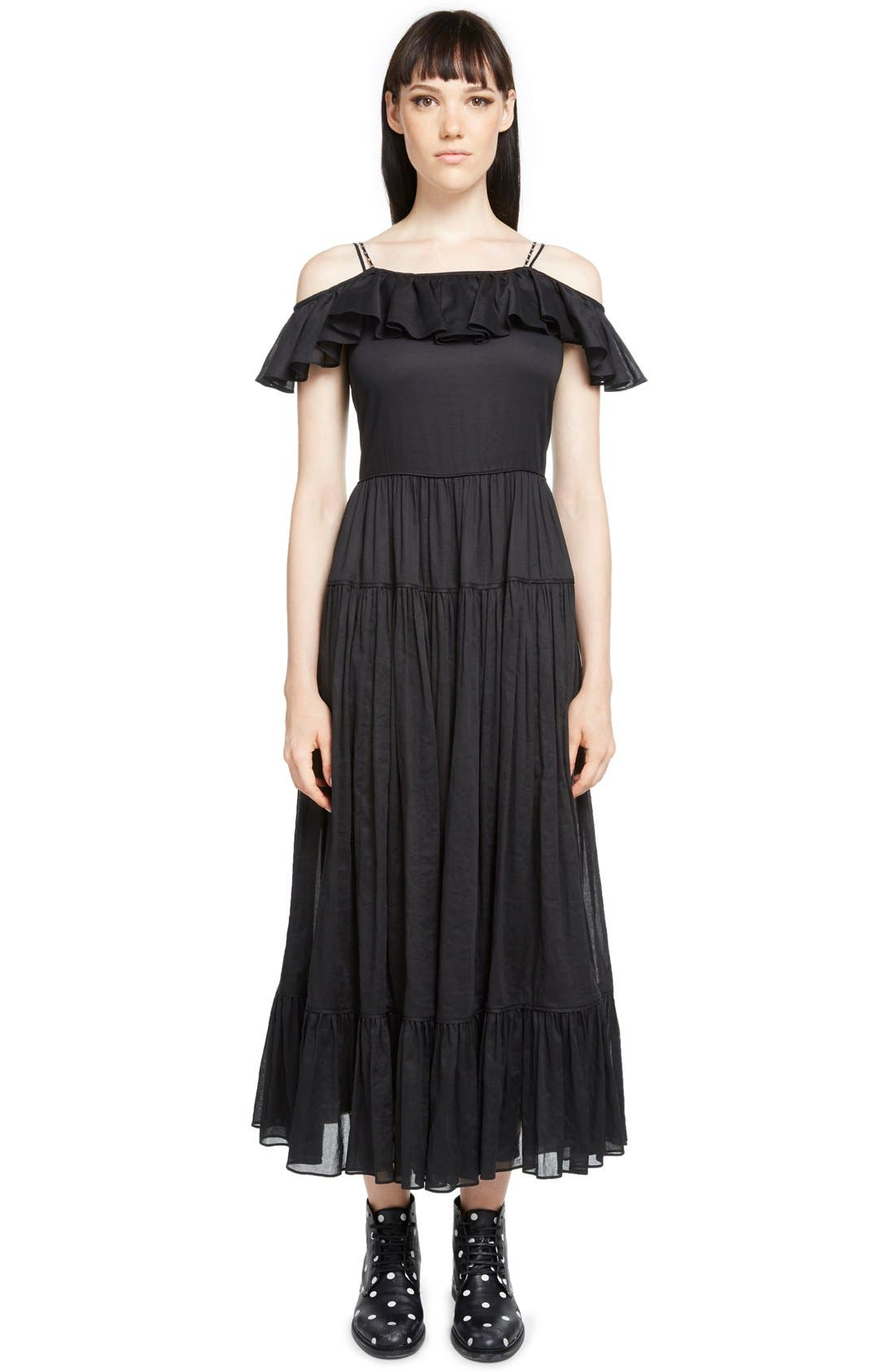 Main Image - Saint Laurent Ruffled Off the Shoulder Voile Organza Dress