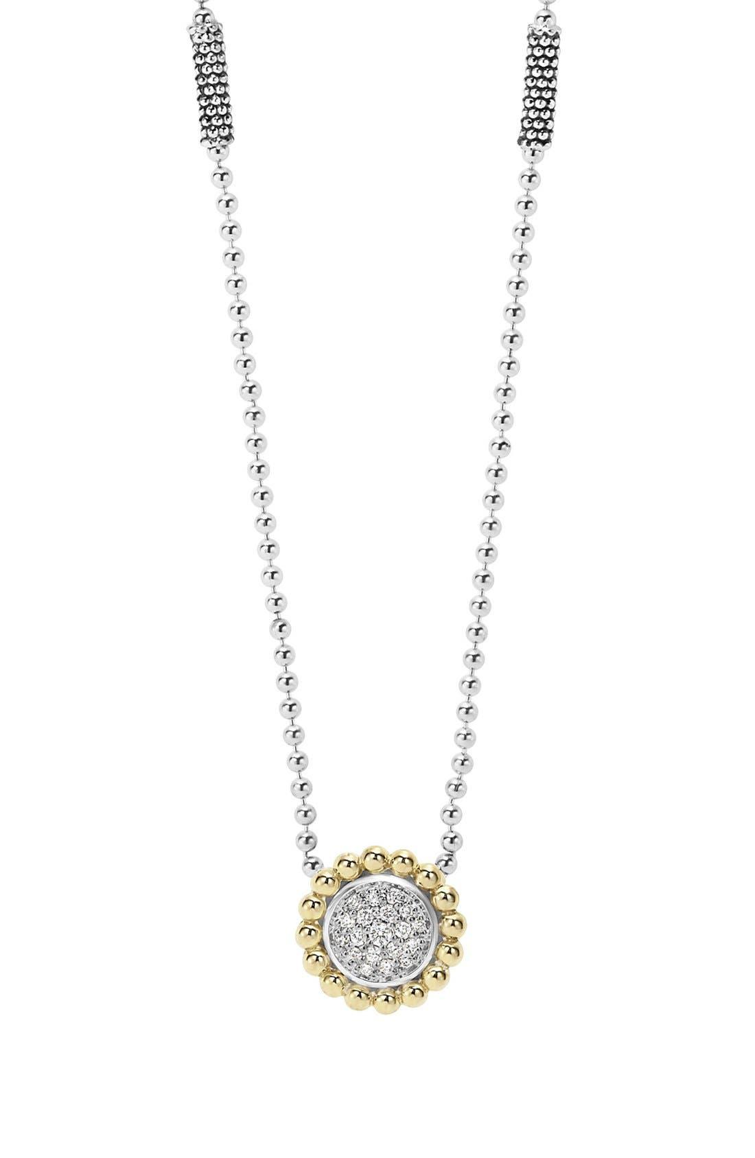 LAGOS Diamond Caviar Circle Pendant