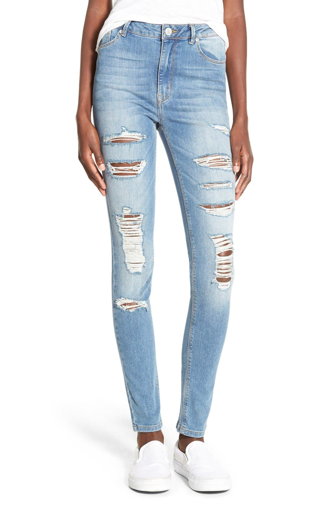 Alternate Image 1 Selected - RES Denim Distressed High Rise Skinny Jeans (Arctic Destroyer)
