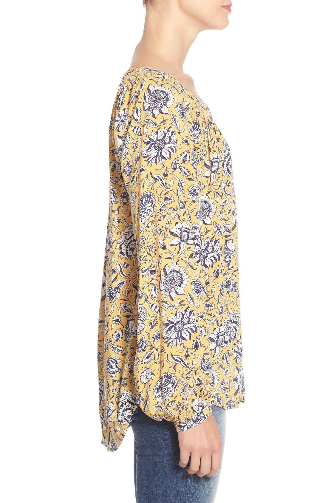 Alternate Image 3  - Lucky Brand 'Jemma' Floral Print Peasant Top