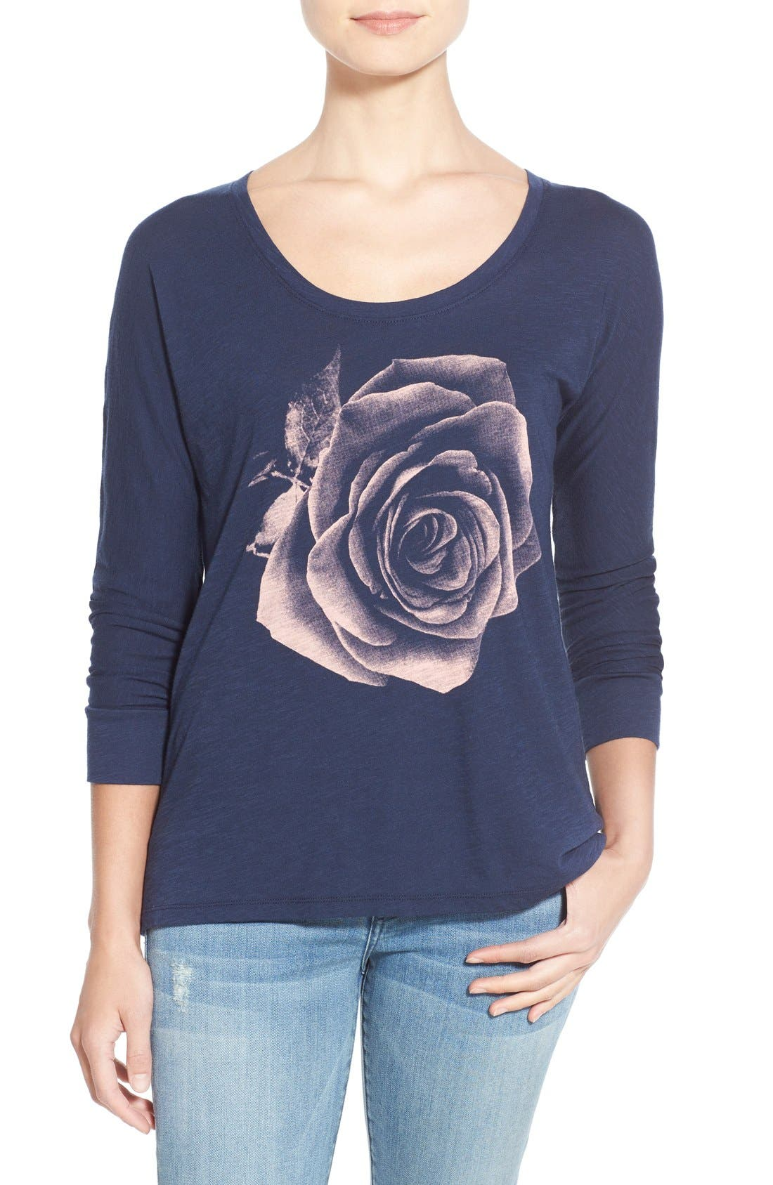 Alternate Image 1 Selected - Lucky Brand Photographic Rose Print Tee
