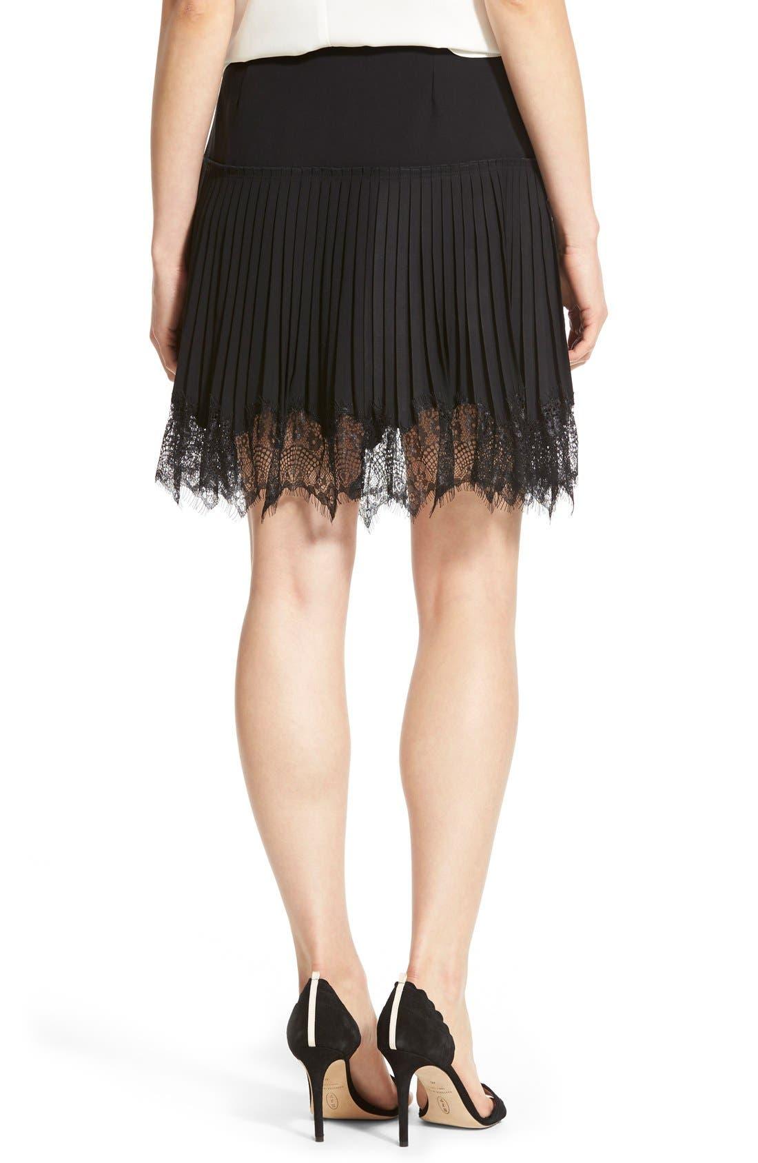 Alternate Image 2  - Chelsea28 Lace Trim Pleat Miniskirt