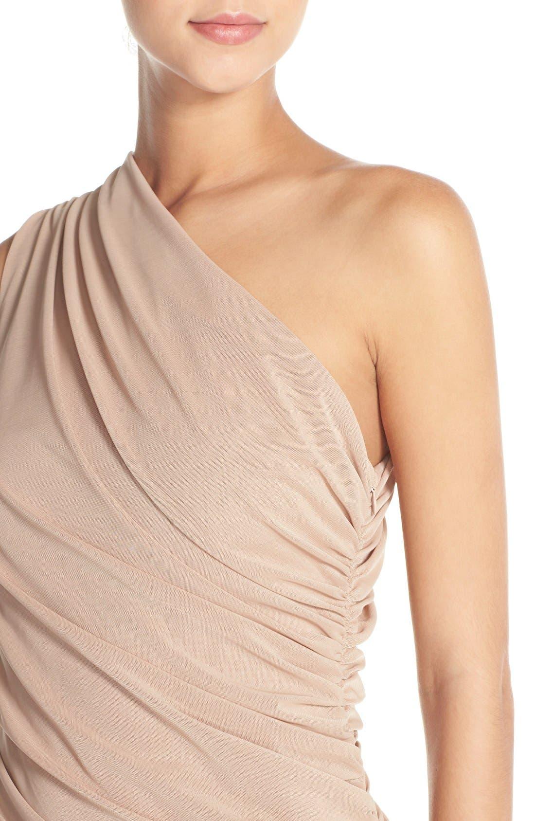 Alternate Image 6  - Misha Collection 'Shani' One-Shoulder Mesh Body-Con Dress