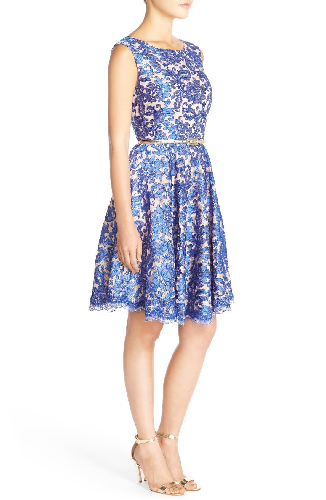 Alternate Image 3  - Eliza J Embroidered Lace Fit & Flare Dress (Regular & Petite)