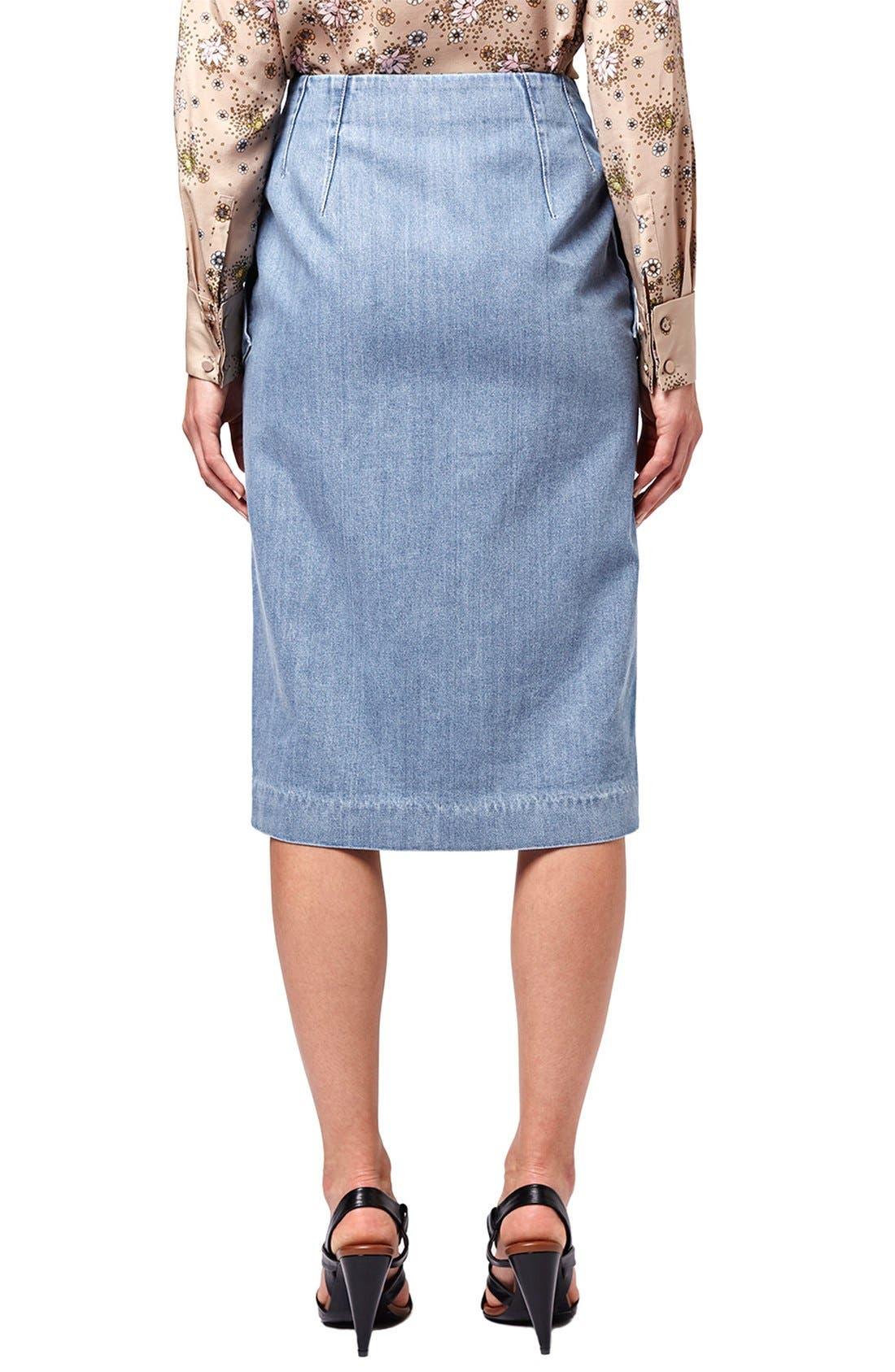 Alternate Image 3  - Topshop Unique 'Whitcomb' Button Front Denim Midi Skirt