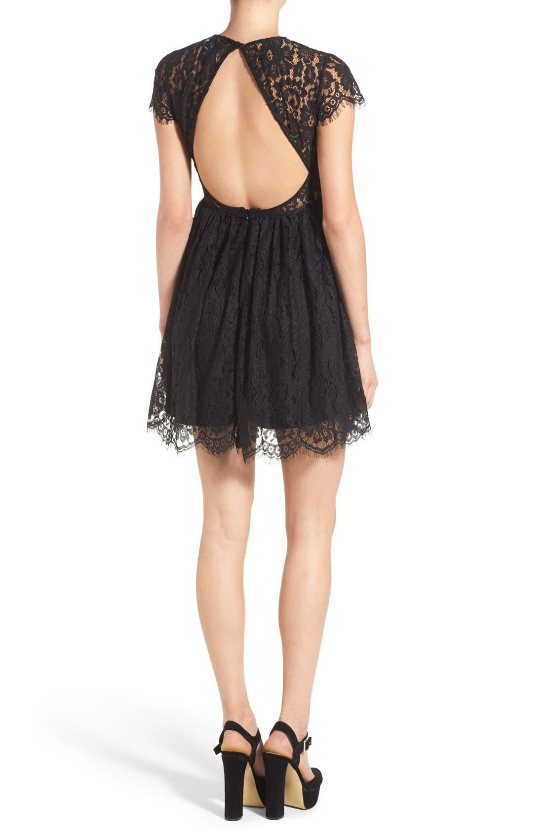 Alternate Image 2  - Glamorous Lace Open Back Fit & Flare Dress