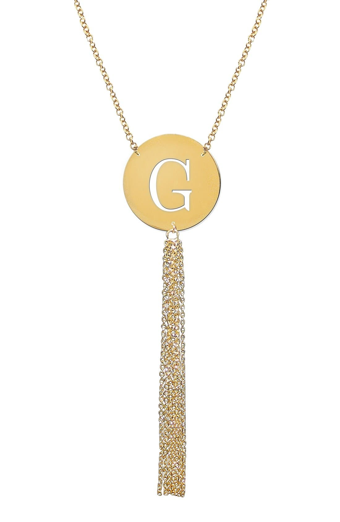 Main Image - Jane Basch Designs Initial Tassel Pendant Necklace