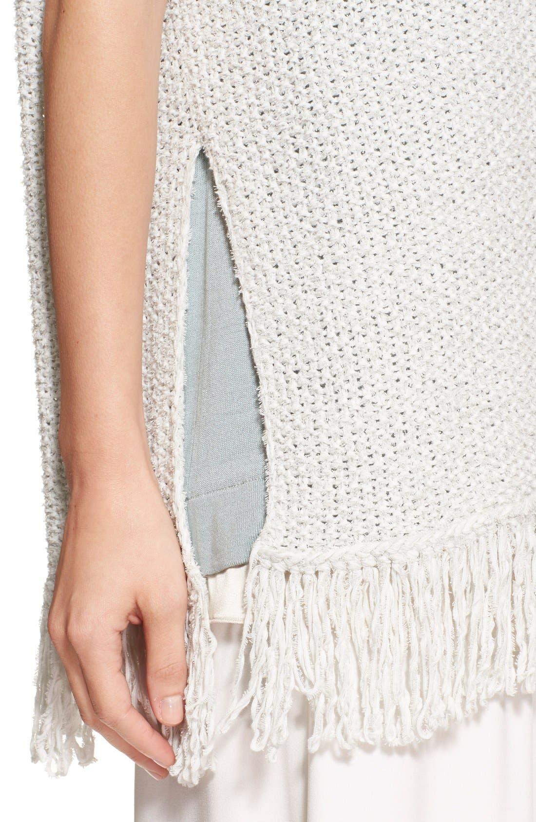 Alternate Image 6  - Fabiana Filippi Fringe Trim Cotton Blend Poncho Sweater