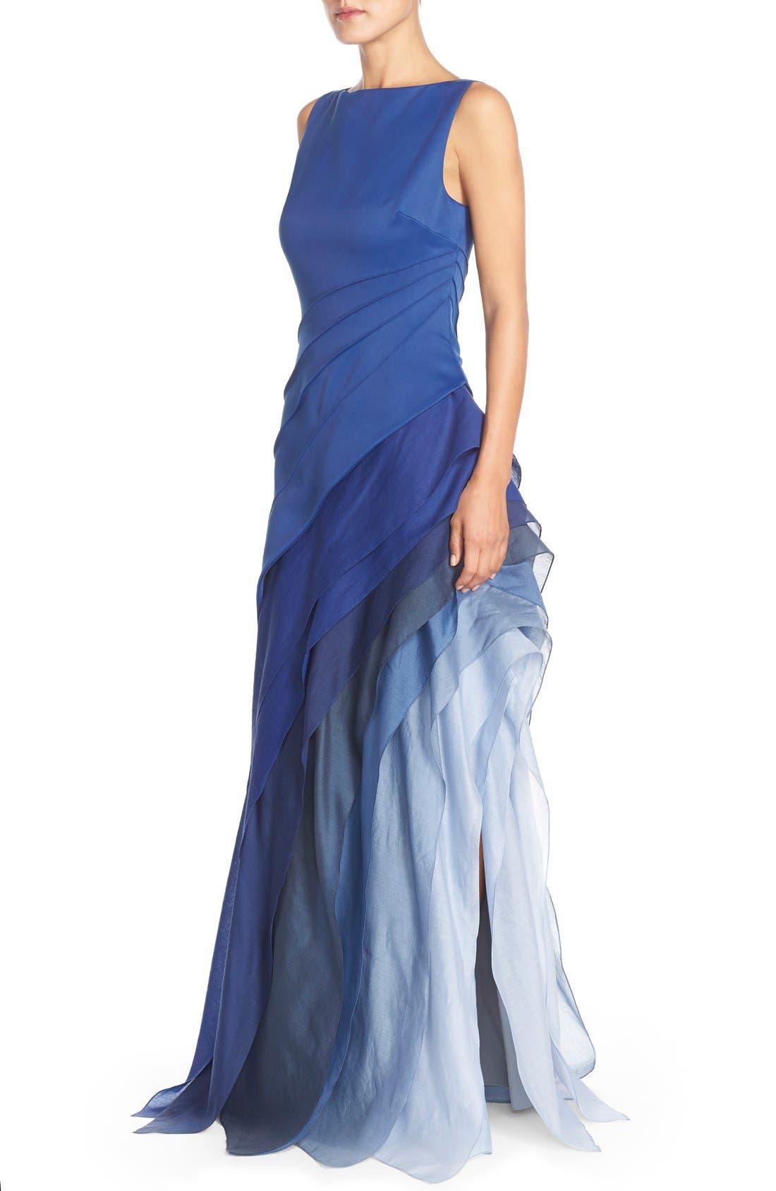 Alternate Image 4  - Halston Heritage Asymmetrical Satin & Voile A-Line Gown