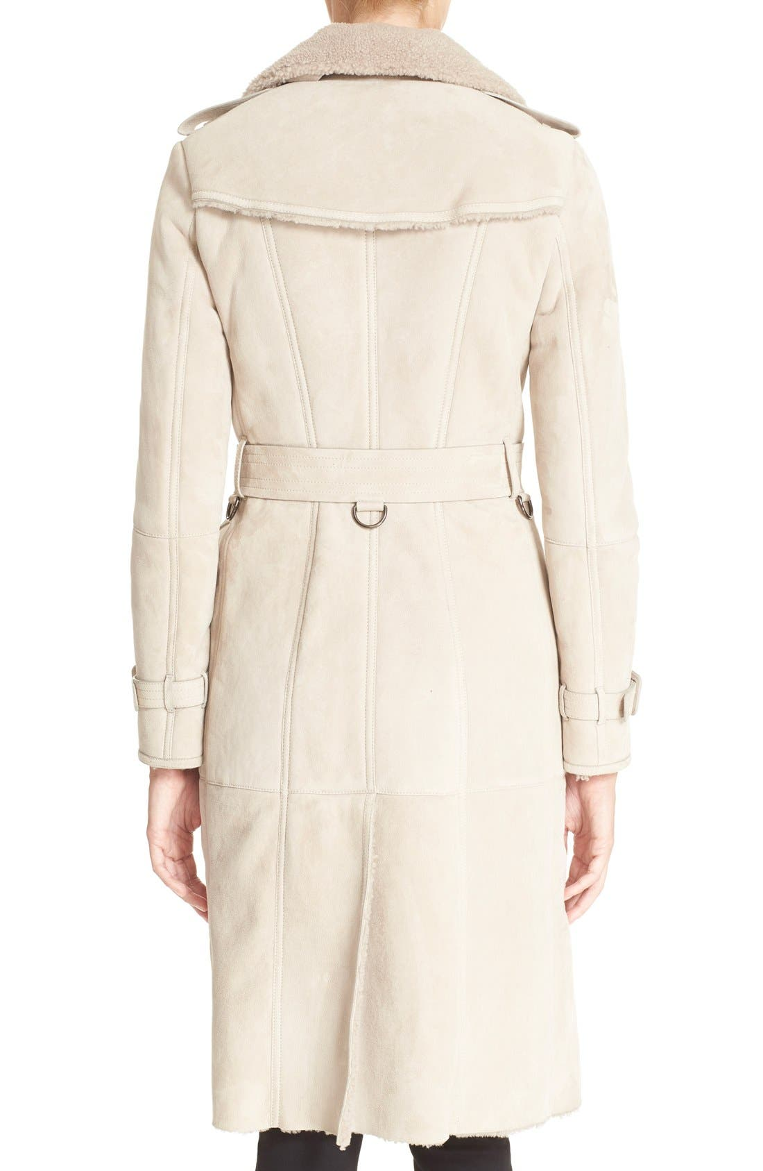 Alternate Image 2  - Burberry London 'Sandringham' Genuine Shearling Trench Coat