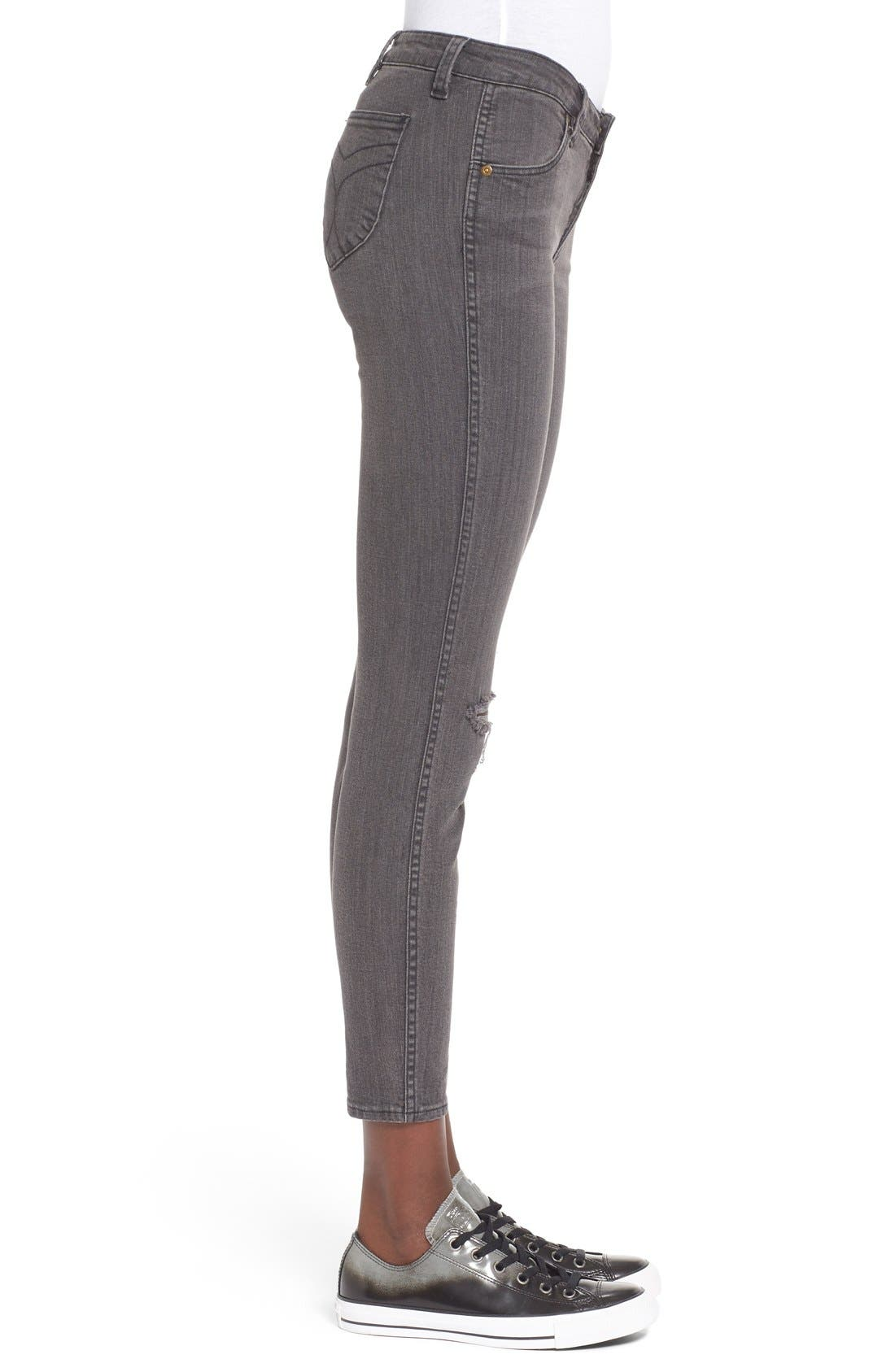 Alternate Image 3  - Rolla's 'Breakers' Distressed Skinny Jeans (Beaten Black)