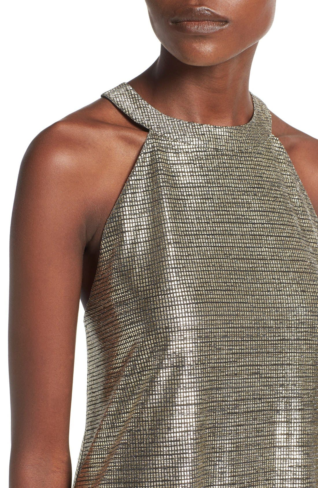 Alternate Image 4  - One Clothing Metallic Halter Swing Dress