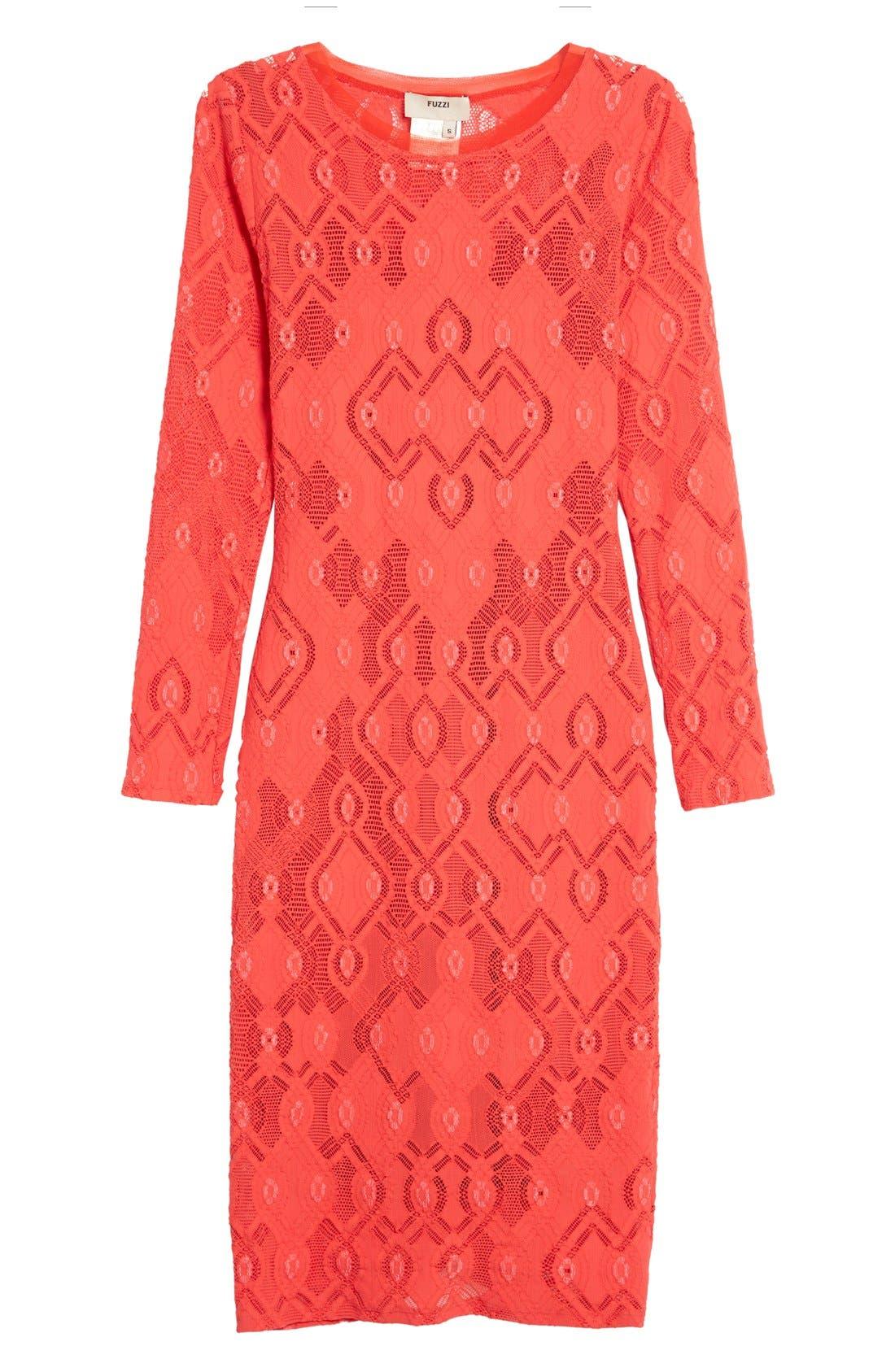 Alternate Image 4  - Fuzzi Long Sleeve Geo Lace Sheath Dress