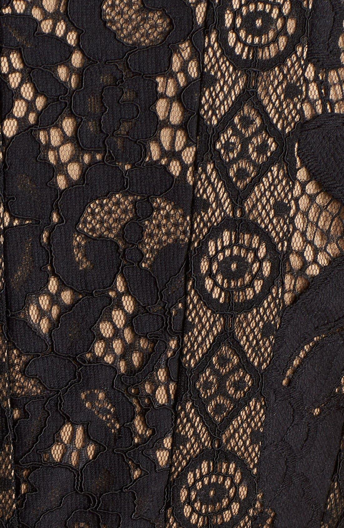 Alternate Image 7  - Tadashi Shoji Mixed Lace Fit & Flare Dress