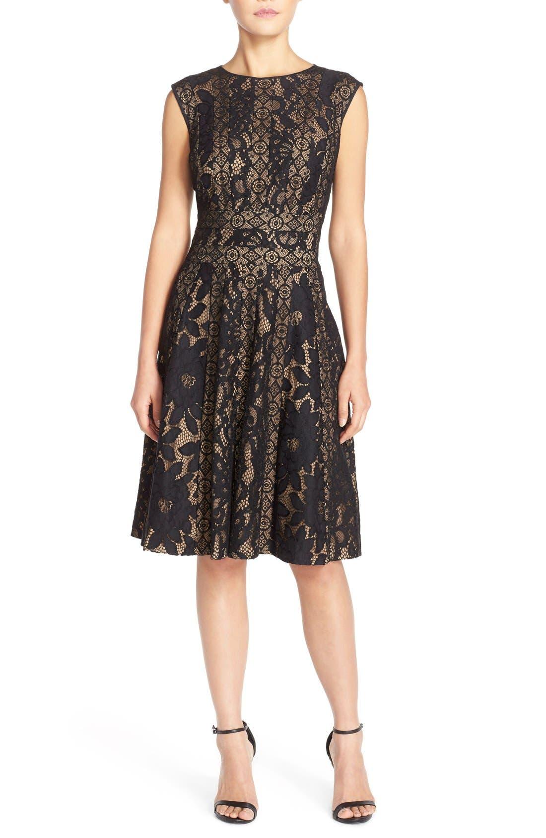 Alternate Image 4  - Tadashi Shoji Mixed Lace Fit & Flare Dress