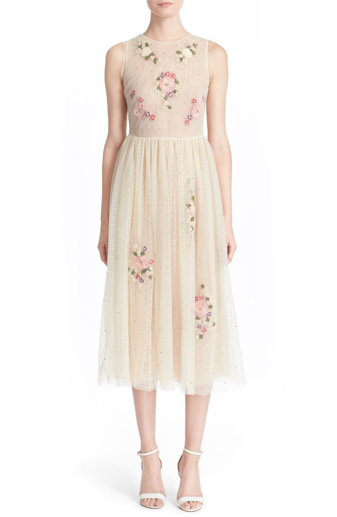 Main Image - RED Valentino Floral Appliqué Sleeveless Dress