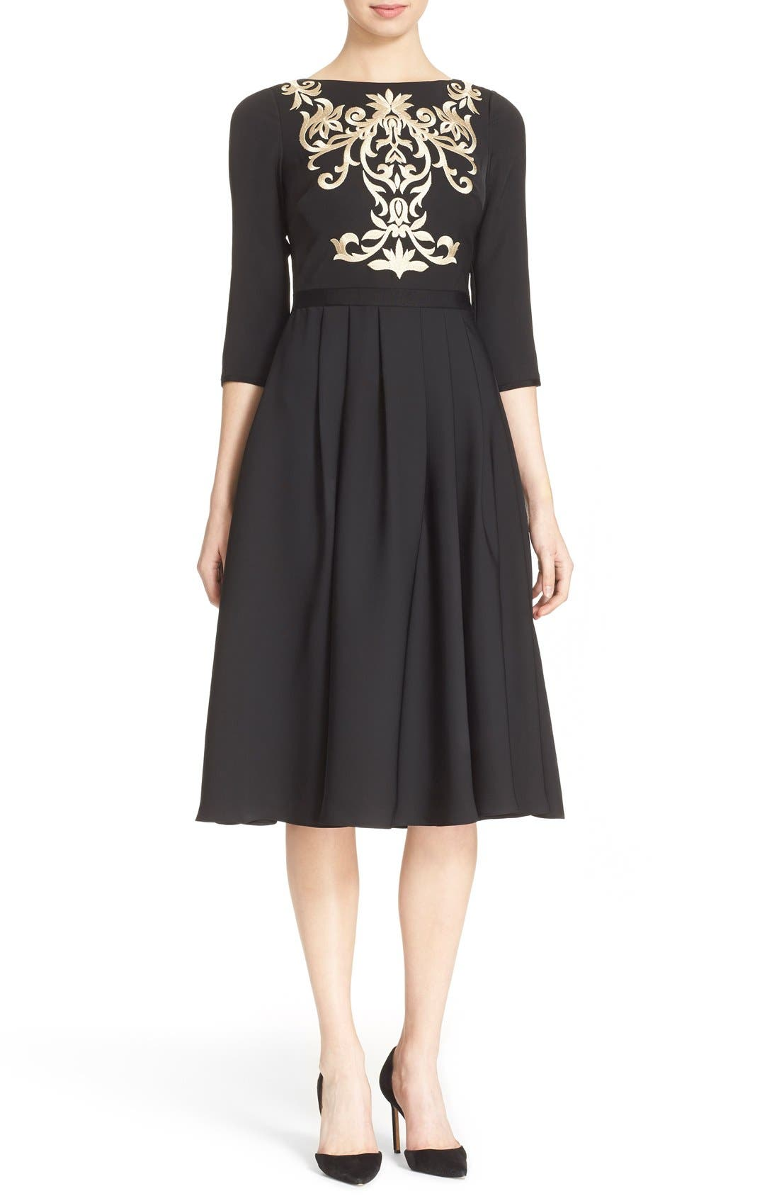 Main Image - Ted Baker London 'Shamari' Embroidered Bodice Midi Dress