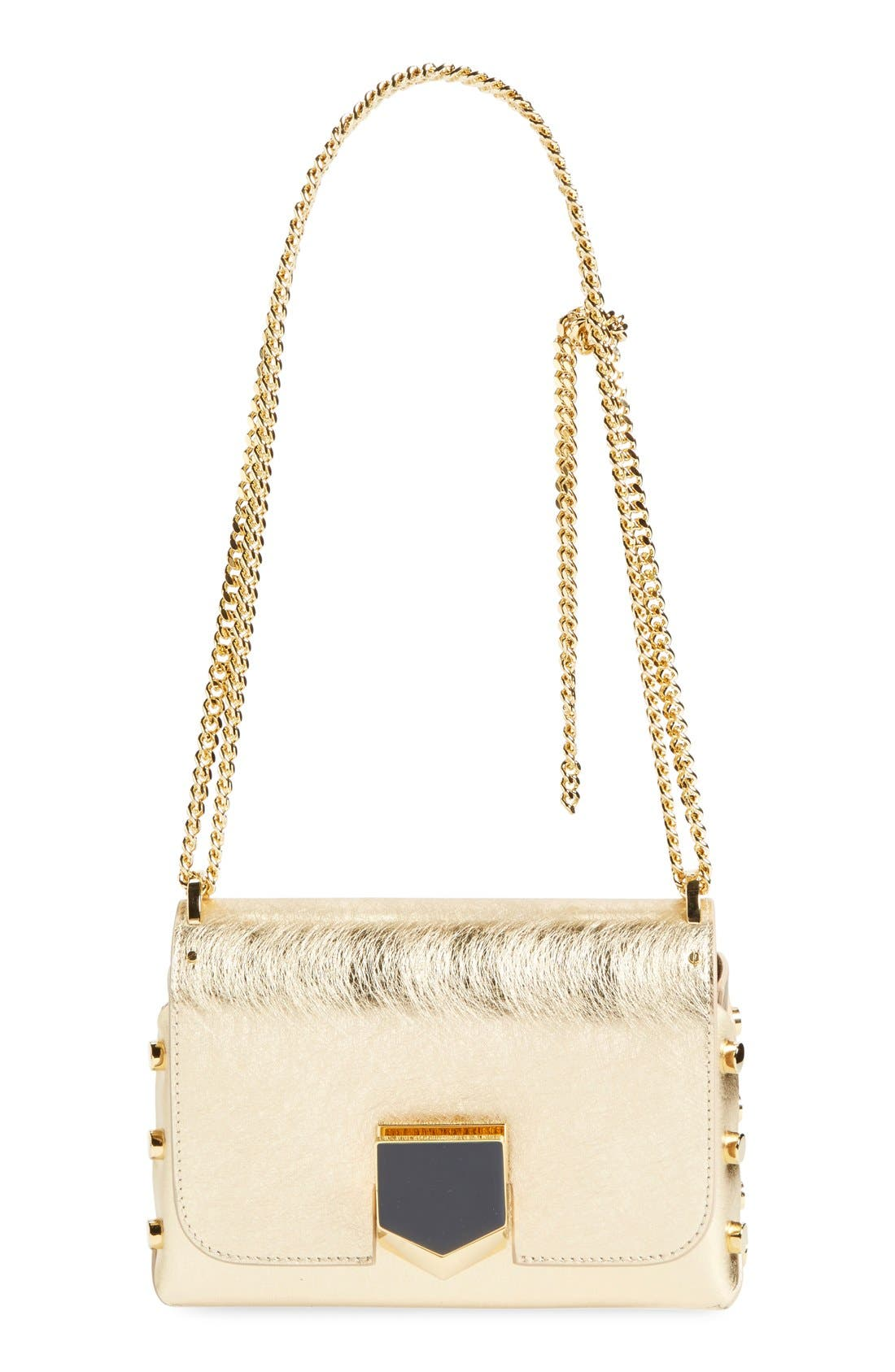 JIMMY CHOO 'Lockett Petite' Metallic Leather Shoulder Bag
