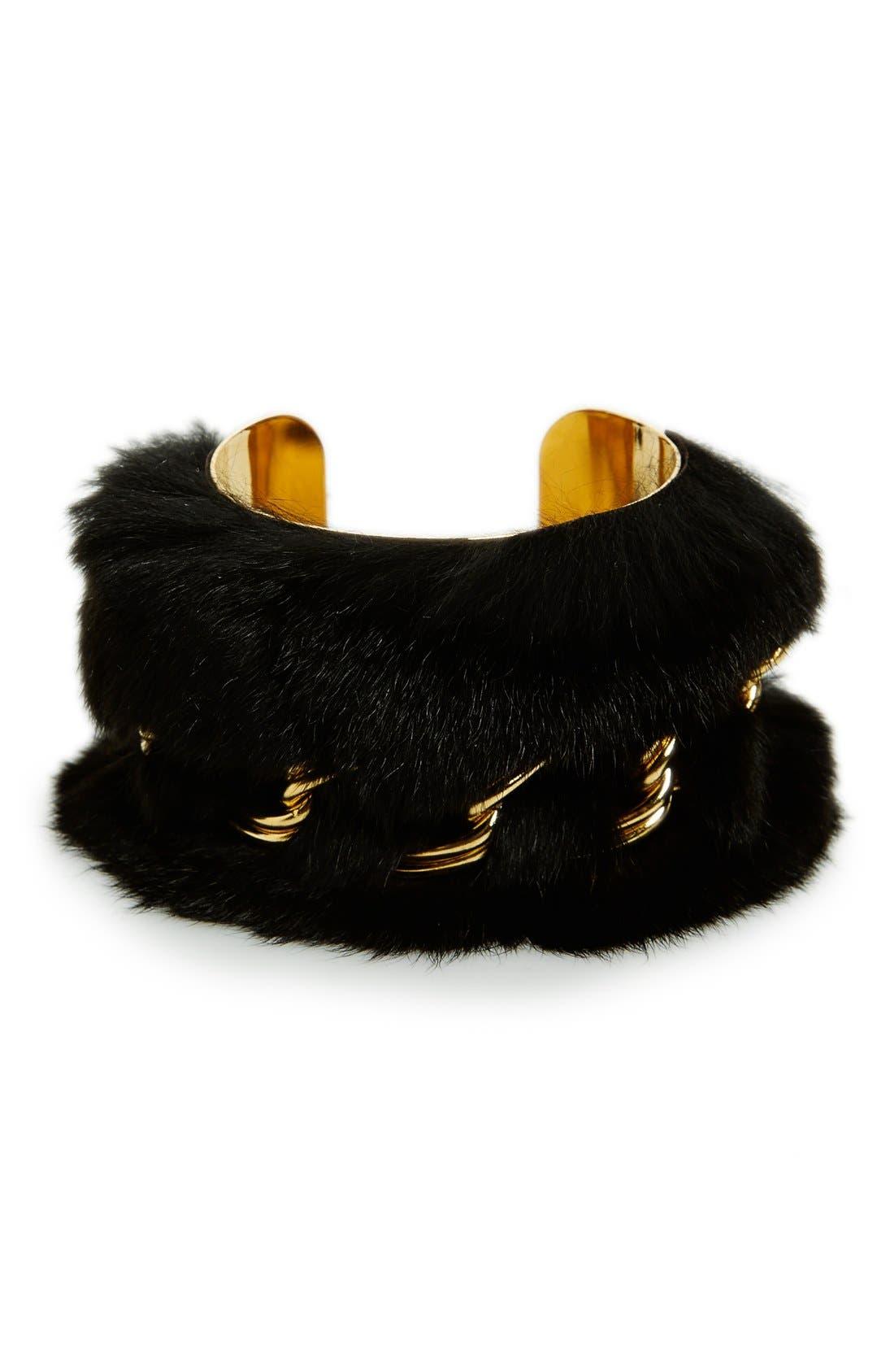 Main Image - Tuleste Genuine Rabbit Fur & Chain Wide Cuff