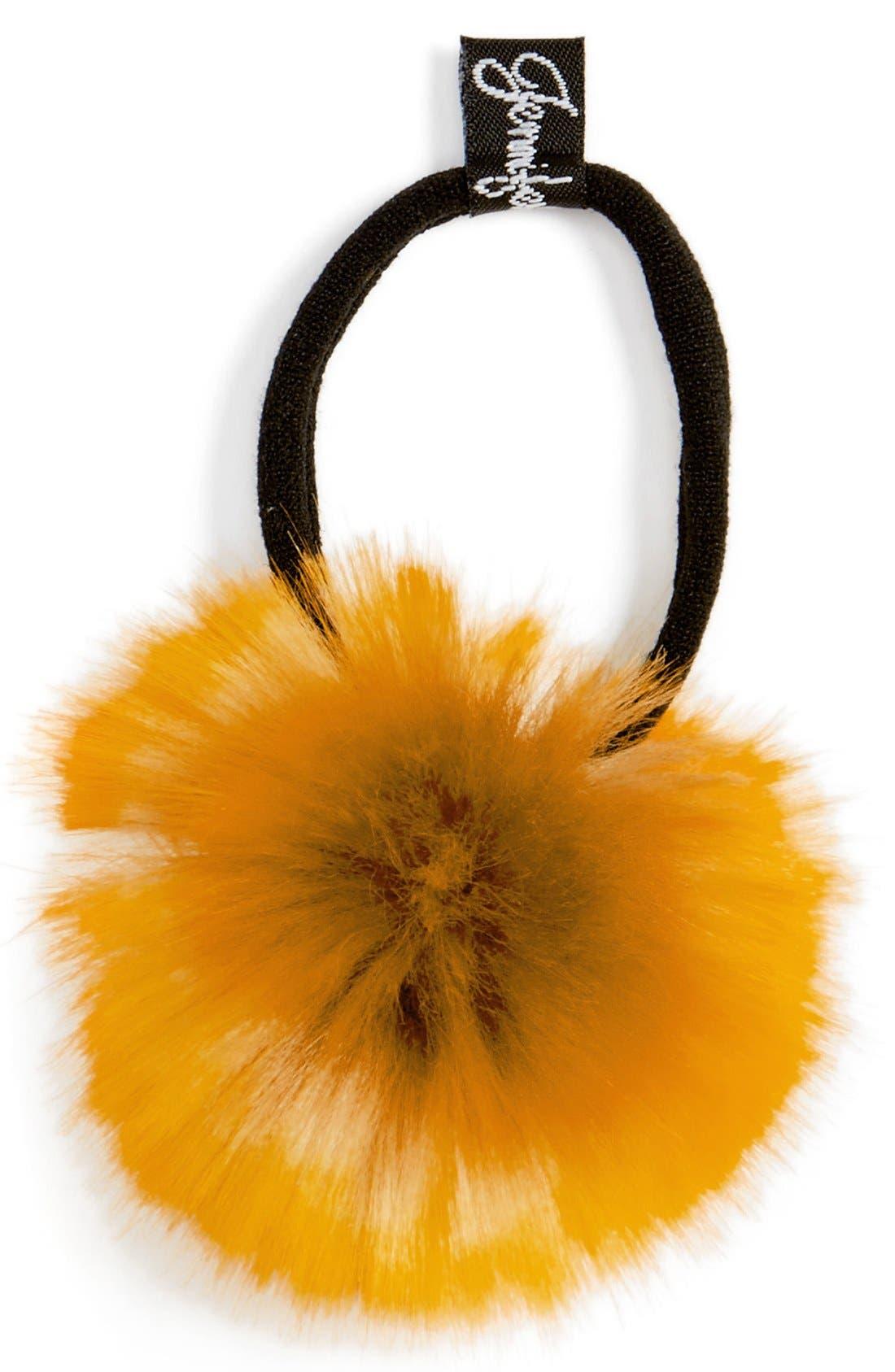 Main Image - Jennifer Ouellette Faux Fur Pompom Ponytail Holder