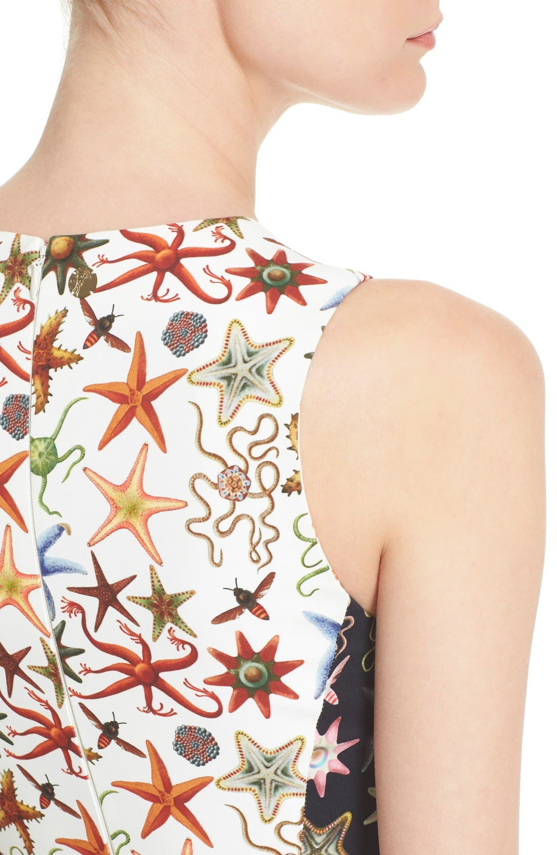 Alternate Image 6  - Versace Collection Starfish Print Bicolor Sheath Dress