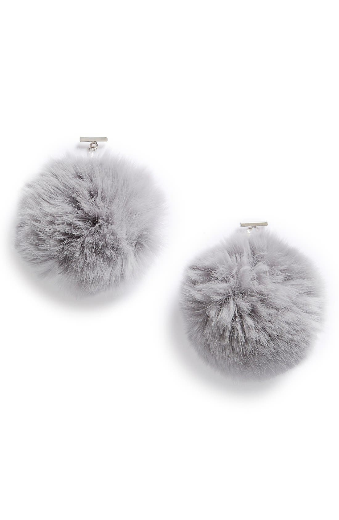 Main Image - Tuleste 'Pom Pom' Genuine Rabbit Fur Short Drop Earrings